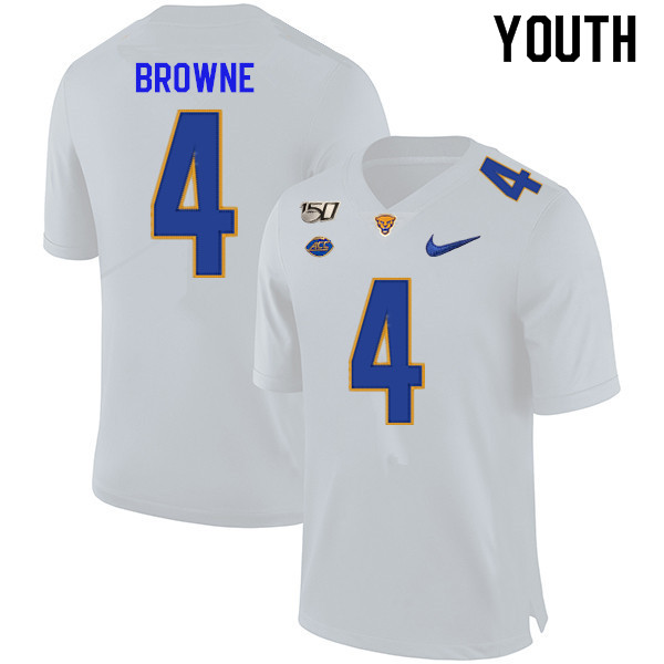 2019 Youth #4 Max Browne Pitt Panthers College Football Jerseys Sale-White